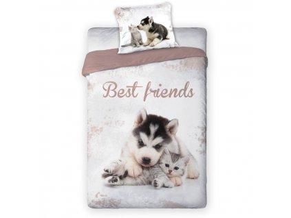 Povlečení Best Friends Husky a koťátko