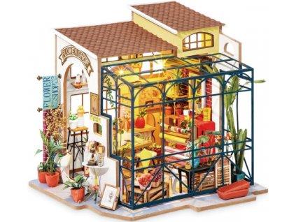 Stavebnice miniaturní domeček - Květinářství miniatura LED DIY