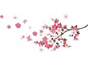 Samolepka na zeď růžové květy