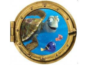 3D Samolepka na zeď ponorka okno podmořský svět Nemo