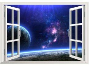 3D samolepka na zeď okno vesmír