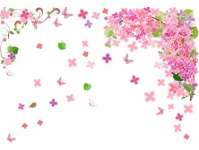 Samolepka na zeď květiny a motýlci