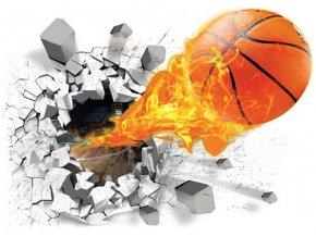 3D samolepka na zeď basketbalový míč