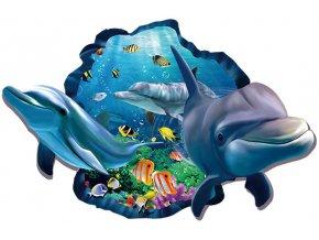 Samolepka na zeď mořský svět delfíni a rybičky