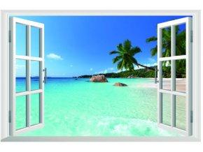 3D samolepka na zeď okno pláž