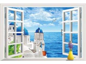 3D samolepka na zeď okno kostel Santorini