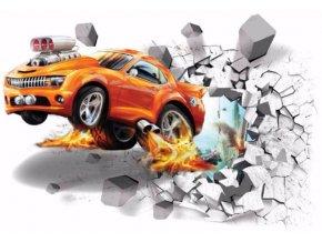 3D Samolepka na zeď závodní auto