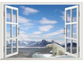 3D samolepka na zeď okno polární medvěd