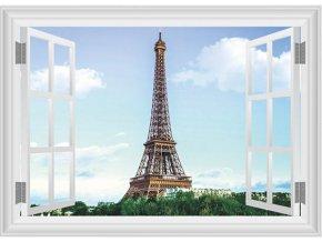 3D samolepka na zeď okno Eiffelova věž