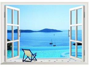 3D samolepka na zeď okno Výhled na moře