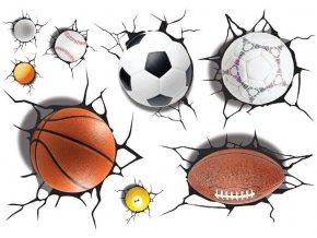 3D samolepka na zeď míčové sporty