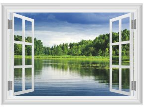 3D samolepka na zeď okno Jezero a les