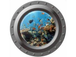 3D Samolepka na zeď ponorka okno podmořský svět