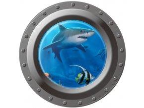 3D Samolepka na zeď ponorka okno podmořský svět žralok