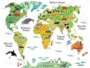 Samolepka na zeď mapa světa