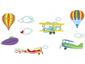 Samolepka na zeď Horkovzdušné balony a letadla