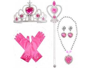 Sada Frozen Elsa 5ks čelenka, hůlka, rukavice, náušnice, náhrdelník