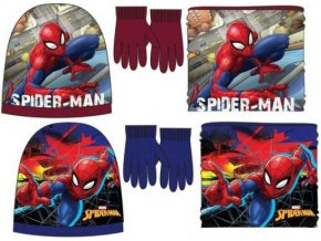 čepice, nákrčník, rukavice Spiderman