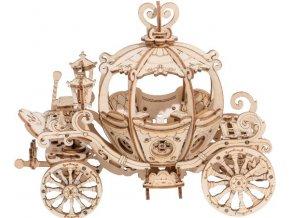 3D dřevěný puzzle Kouzelný dýňový kočár pro princeznu