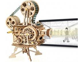 3D dřevěný mechanický puzzle Vitascope filmový projektor