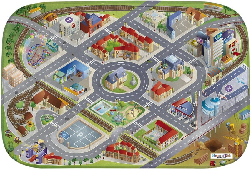 Fotografie HOUSE OF KIDS Dětský hrací koberec Město 3D Ultra Soft 100x150 zelený