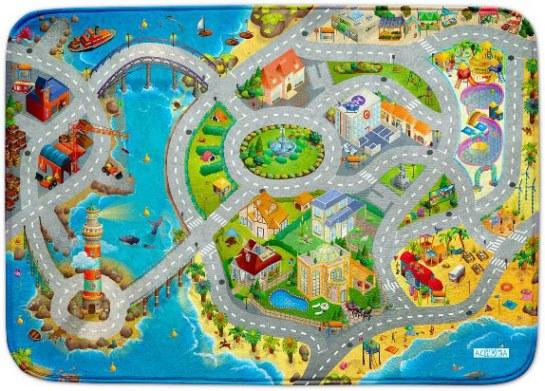 Fotografie HOUSE OF KIDS Dětský hrací koberec Město s pláží 3D Ultra Soft 100x150 modrý