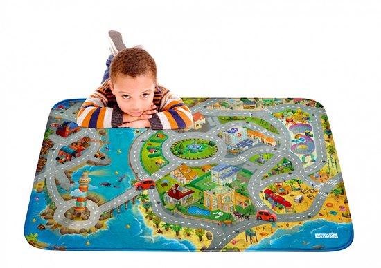 Dětský hrací koberec Město s pláží 3D Ultra Soft 130x180