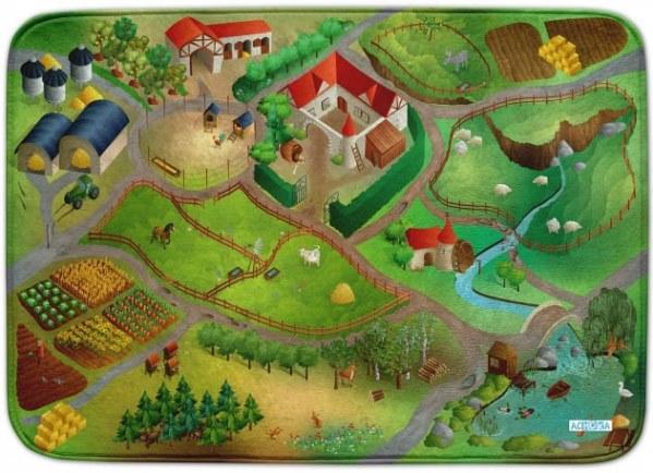 Fotografie HOUSE OF KIDS Dětský hrací koberec Farma 3D Ultra Soft 100x150 zelený