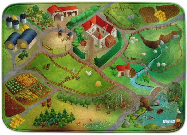 HOUSE OF KIDS Dětský hrací koberec Farma 3D Ultra Soft 130x180 zelený