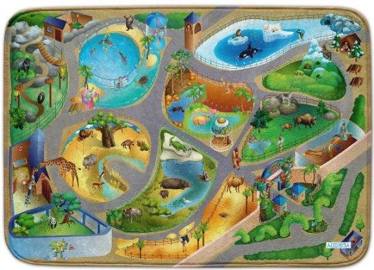 Fotografie HOUSE OF KIDS Dětský hrací koberec ZOO 3D Ultra Soft 100x150 zelený