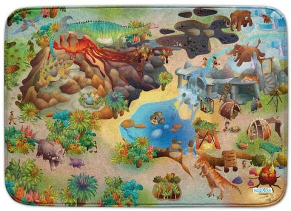 Fotografie HOUSE OF KIDS Dětský hrací koberec Dinosauři 3D Ultra Soft 100x150 zelenohnědý