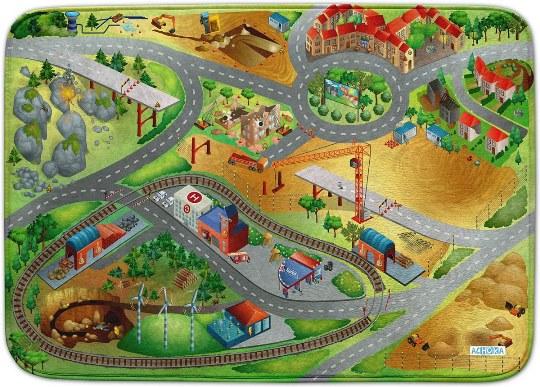 HOUSE OF KIDS Dětský hrací koberec Stavba 3D Ultra Soft 130x180 zelenožlutý