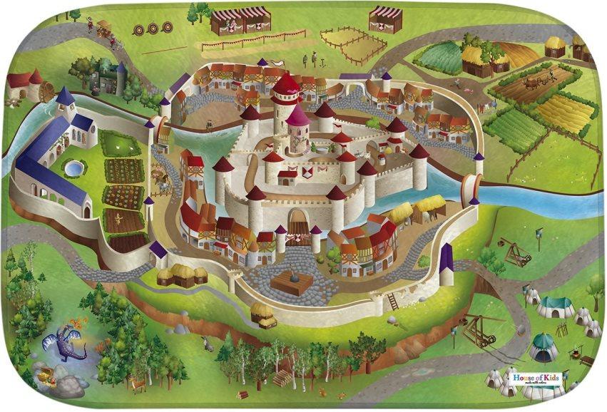 Fotografie HOUSE OF KIDS Dětský hrací koberec Středověk 3D Ultra Soft 100x150 zelený