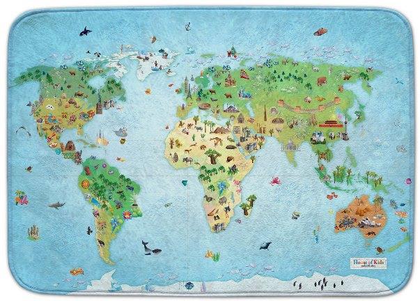 Fotografie HOUSE OF KIDS Dětský hrací koberec Mapa světa 3D Ultra Soft 100x150 modrý