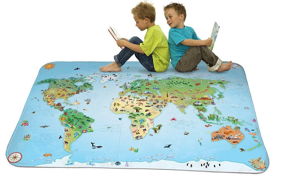 HOUSE OF KIDS Dětský hrací koberec Mapa světa 3D Ultra Soft 100x150 modrý