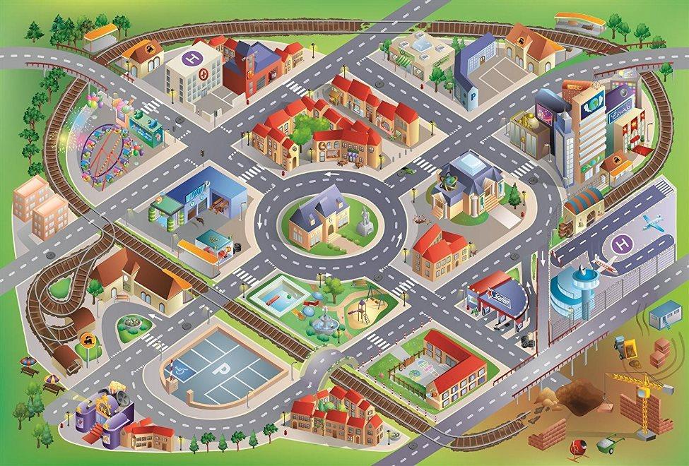 HOUSE OF KIDS Dětský hrací koberec Město 3D 100x150 zelený