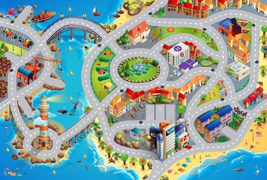 Dětský hrací koberec Město s pláží 3D 100x150