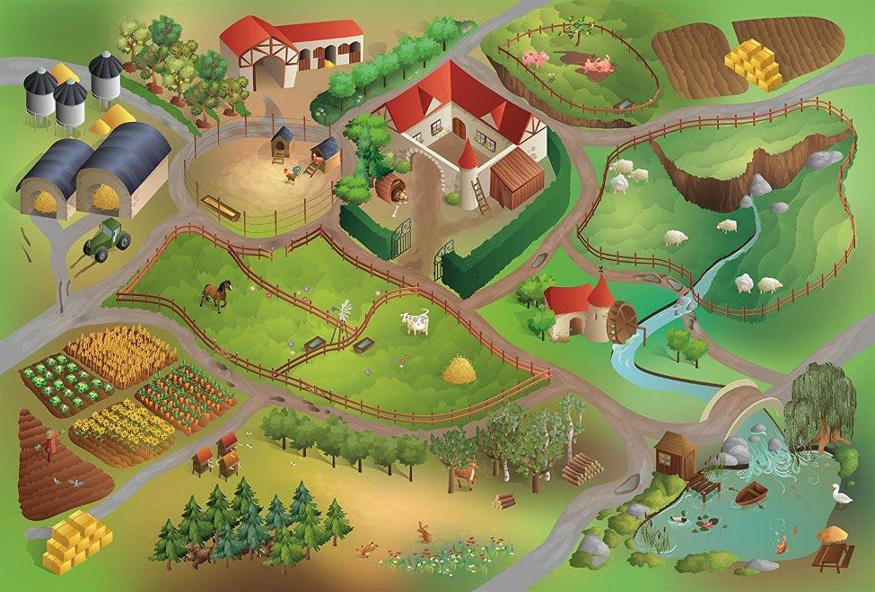 Fotografie House of Kids Hrací podložka Farma 100x150 cm