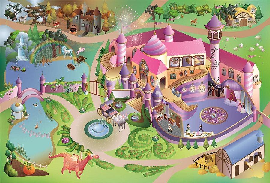 Fotografie HOUSE OF KIDS Dětský hrací koberec Zámek princezna 3D 100x150 zelenorůžový