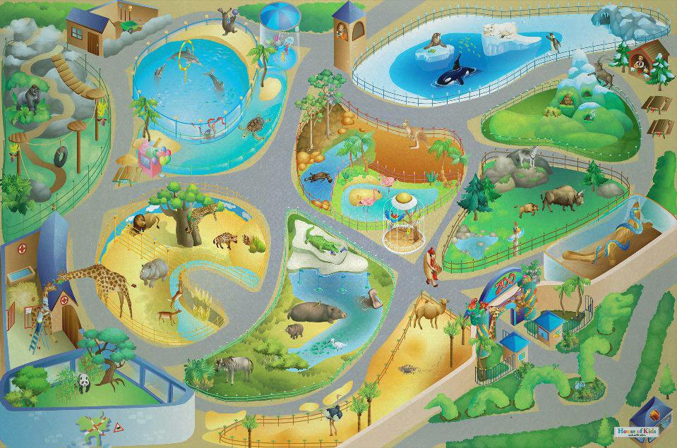 HOUSE OF KIDS Dětský hrací koberec ZOO 3D 100x150 zelený