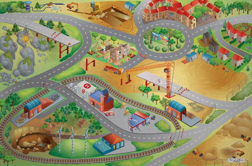 Dětský hrací koberec Stavba 3D 100x150