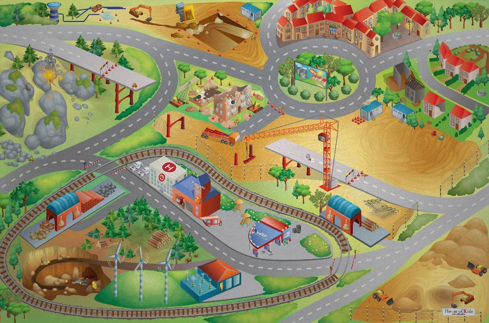 HOUSE OF KIDS Dětský hrací koberec Stavba 3D 100x150 zelenožlutý
