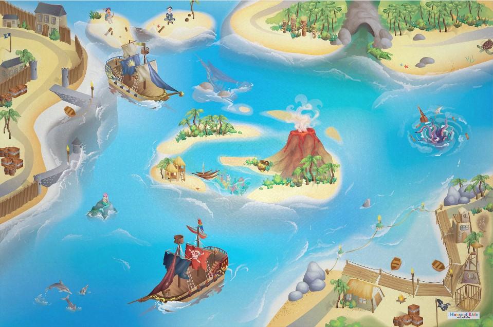 Dětský hrací koberec Piráti 3D 100x150