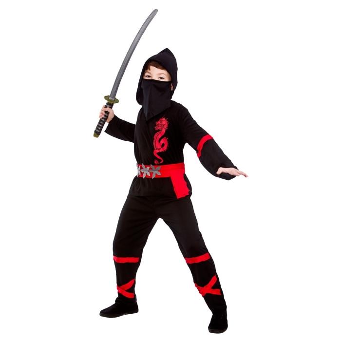Dětský kostým Ninja černočervený 4 dílný set vel. S-XL S