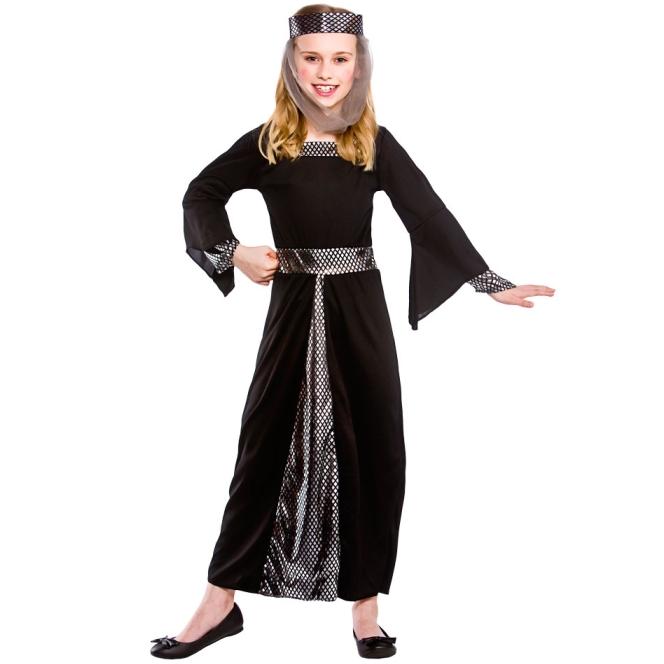 Dětský kostým Princezna černostříbrný 2 dílný set vel. S-XL M