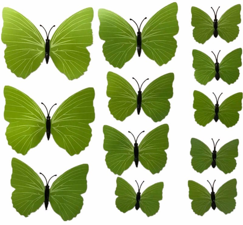 3D motýlci dekorace / samolepky sada 12ks - zelená PURE