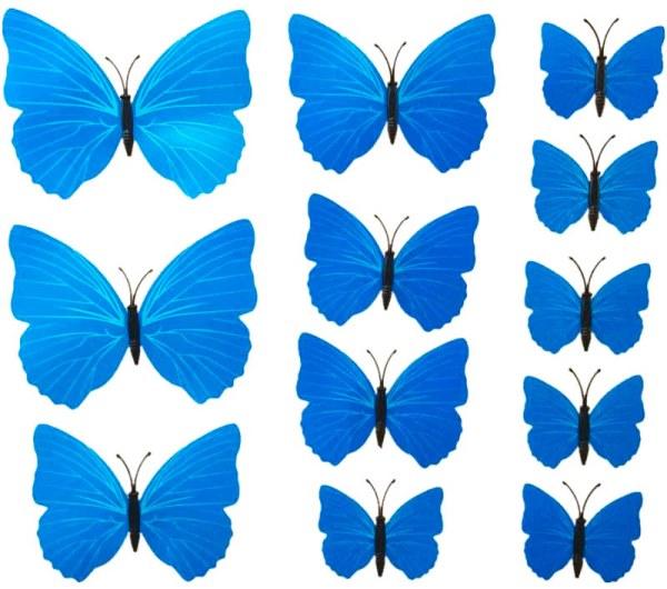 3D motýlci dekorace / samolepky sada 12ks - modrá PURE
