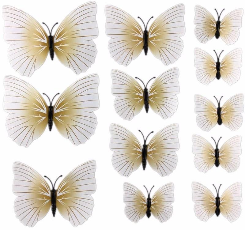 3D motýlci dekorace / samolepky sada 12ks - bílo-béžová PURE