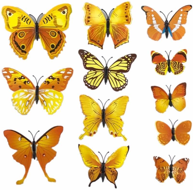 3D motýlci dekorace / samolepky sada 12ks - žlutá