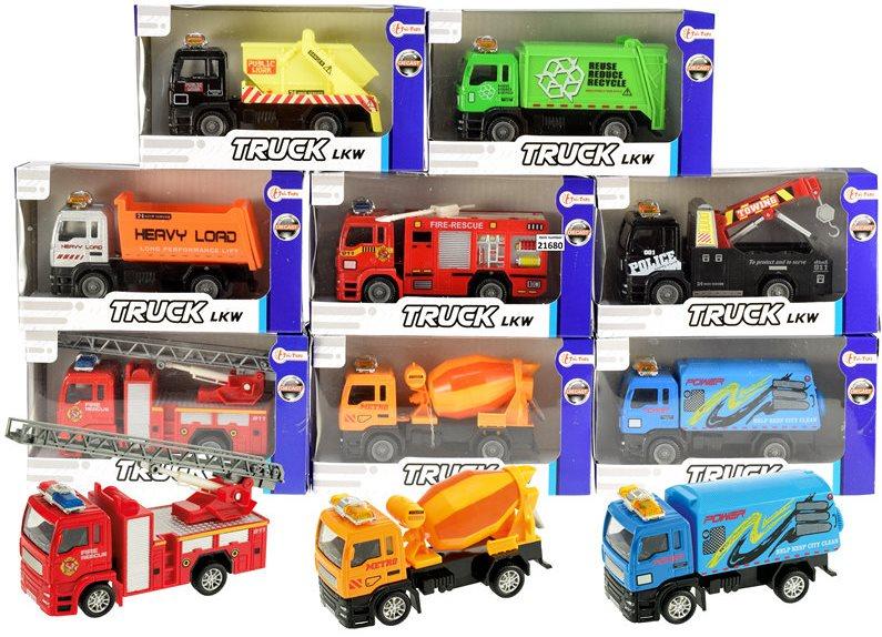 Kovové nákladní a užitkové automobily 16 cm 8 druhů TYP 1